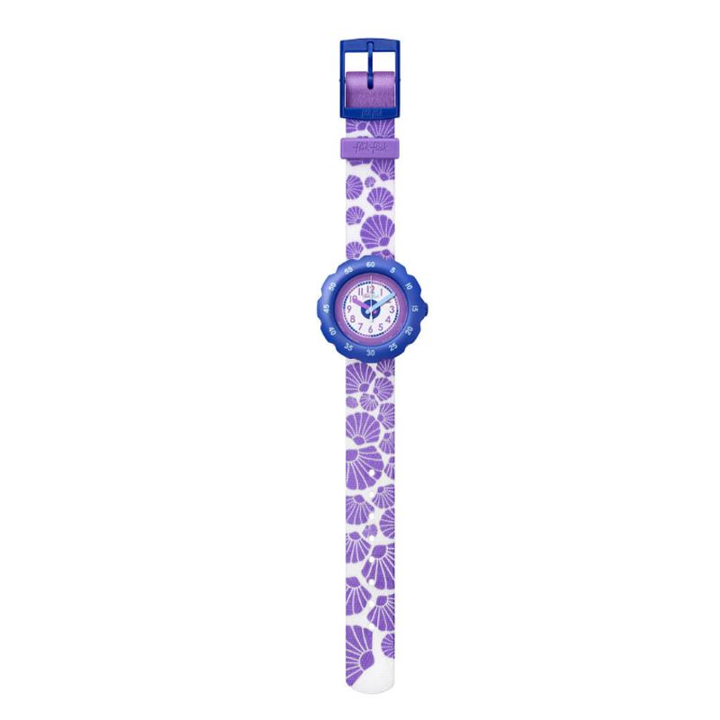 Image of   Flik Flak Soft Purple børneur i hvid med lilla strandskaller