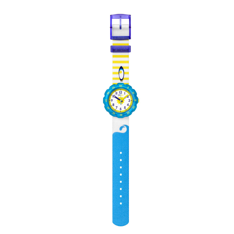 Image of   Flik Flak Wave's Slide børneur med blå og gul nylonrem