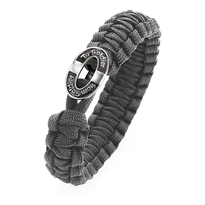 From Soldier to Soldier grå armbånd, sølv med logo