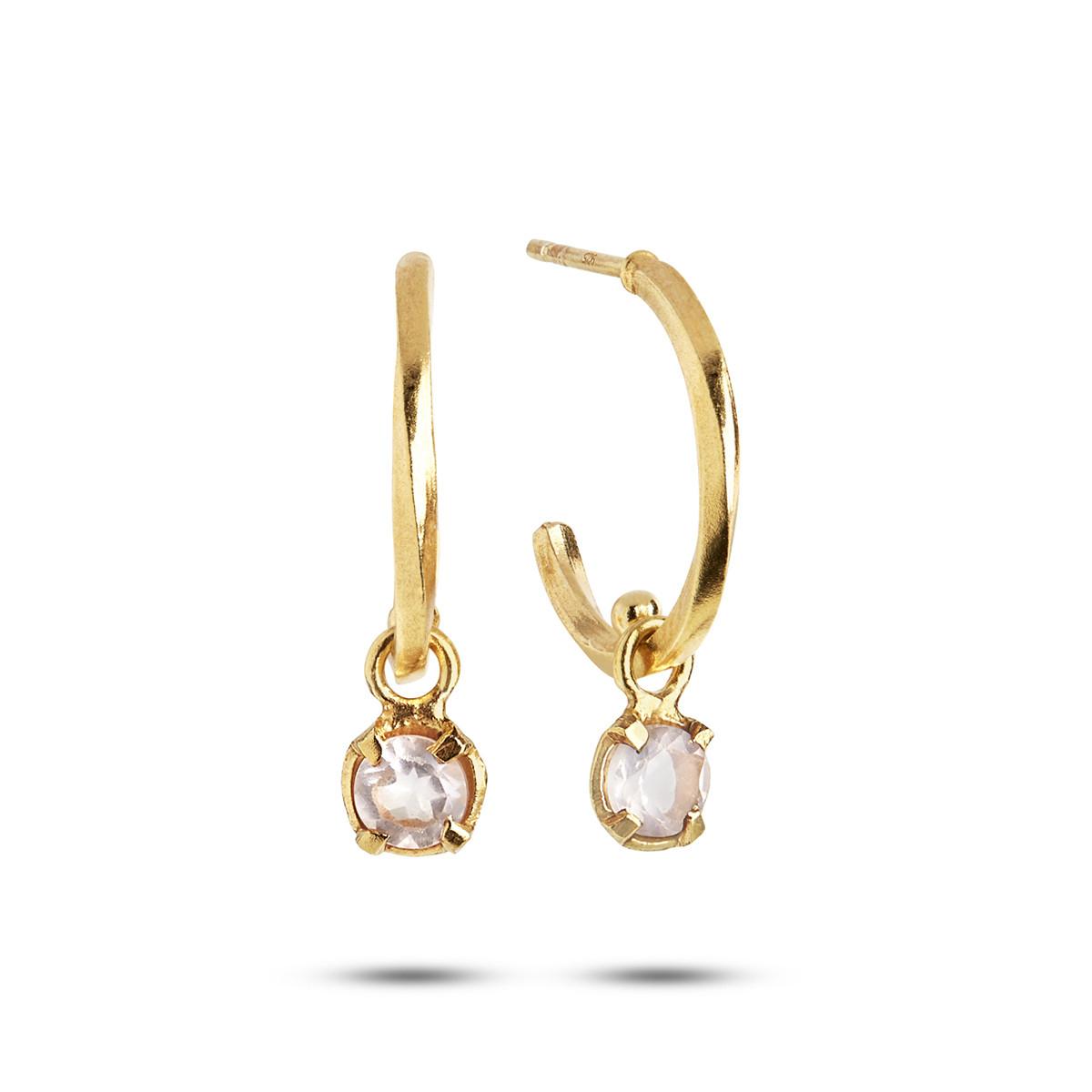Image of   Carré snoet forgyldte creoler med rosa kvarts, kærlighedens sten