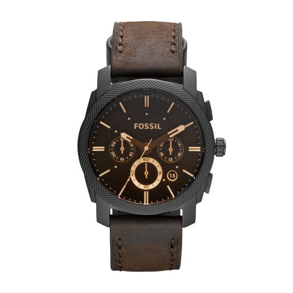 Image of   FOSSIL Machine armbåndsur chronograph i sort stål med brun læderrem