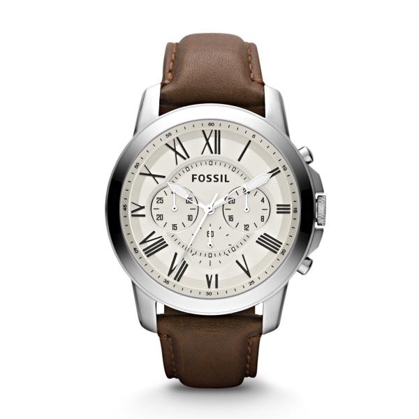 FOSSIL Grant chronograph armbåndsur i stål med cremehvid skive og brun læderrem