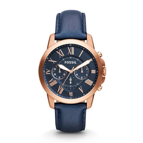 FOSSIL Grant chronograph armbåndsur i rosafarvet stål med blå skive og læderrem