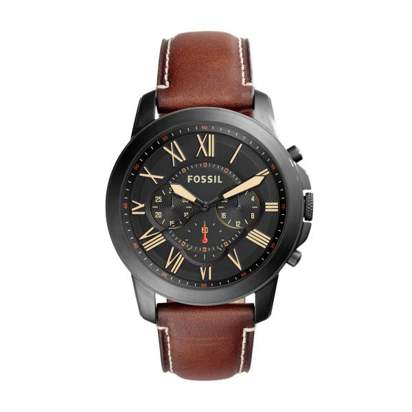 Image of   FOSSIL Grant chronograph armbåndsur i sort stål med sort skive og brun læderrem