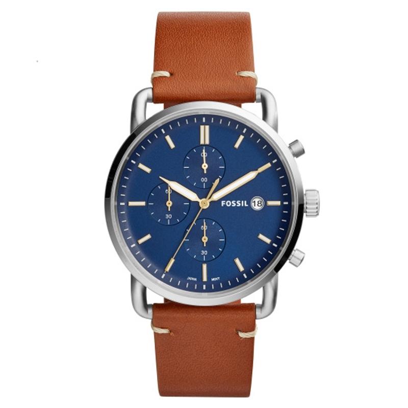 Image of   Fossil armbåndsur COMMUTER med blå skive og brun læderrem