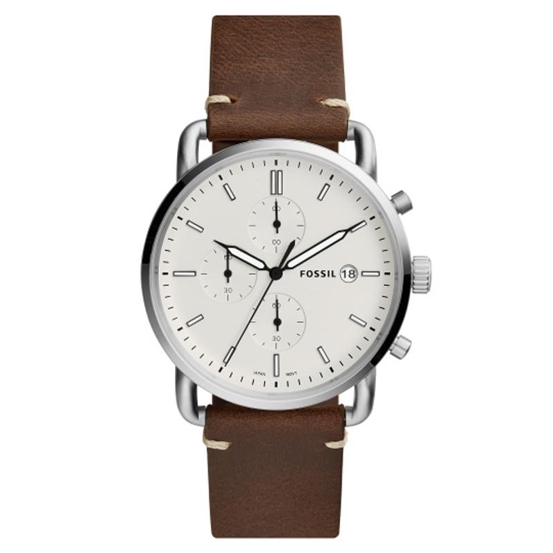 Image of   Fossil armbåndsur COMMUTER med hvid skive og brun læderrem