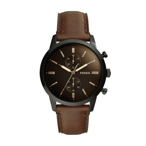 FOSSIL Townsman armbåndsur med chronograf sort skive og brun læderrem