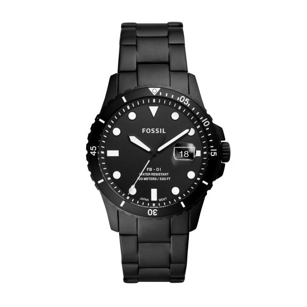 Image of   FOSSIL FB-01 dykker armbåndsur i sort stål med lænke