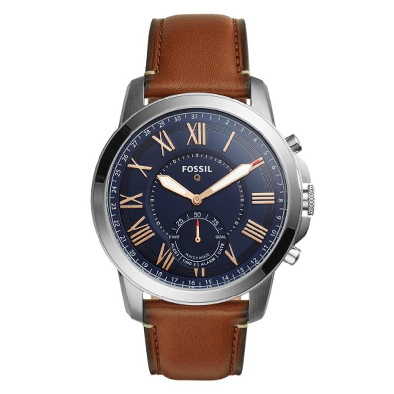 Fossil Q Hybrid Smartwatch armbåndsur med blå skive og brun læderrem
