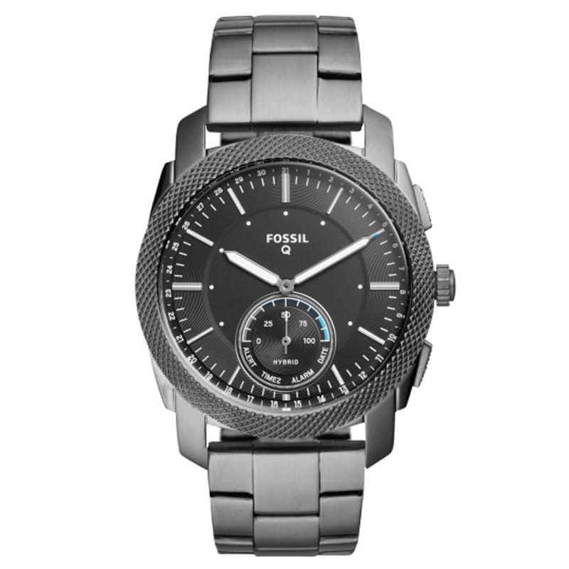 Fossil Q Hybrid Smartwatch MACHINE armbåndsur med sort skive og sort lænke