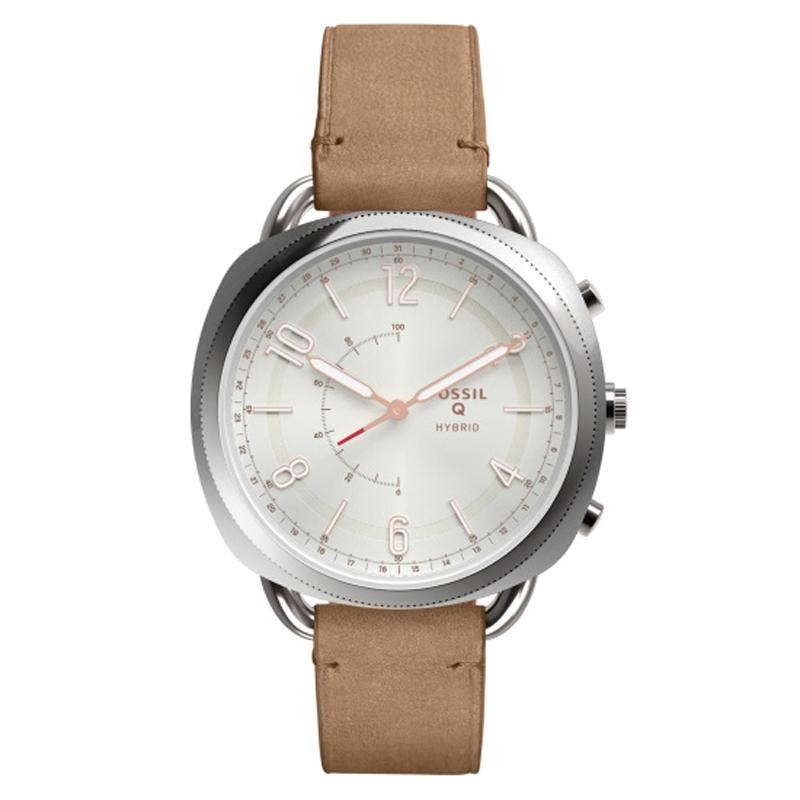 Fossil Q Hybrid Smartwatch armbåndsur med sølvhvid skive og beige læderrem
