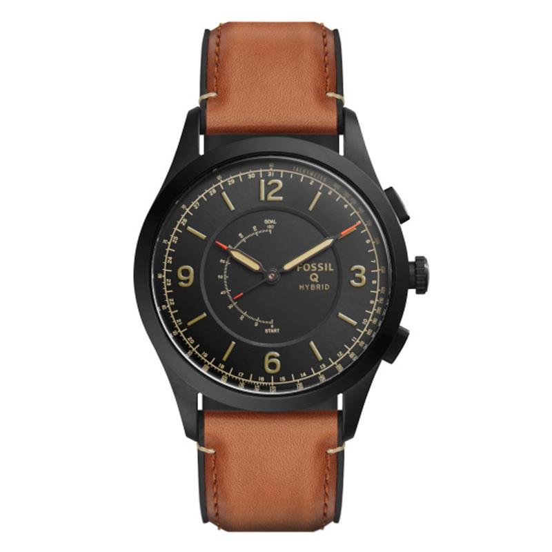 Fossil Q Hybrid Smartwatch armbåndsur med sort skive og brun læderrem