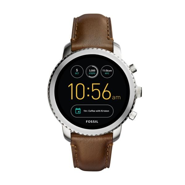 Fossil Q EXPLORIST Smartwatch armbåndsur i stål med brun læder rem