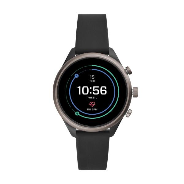 Image of   Fossil Q SPORT Smartwatch armbåndsur i mørkt stål med silikonerem