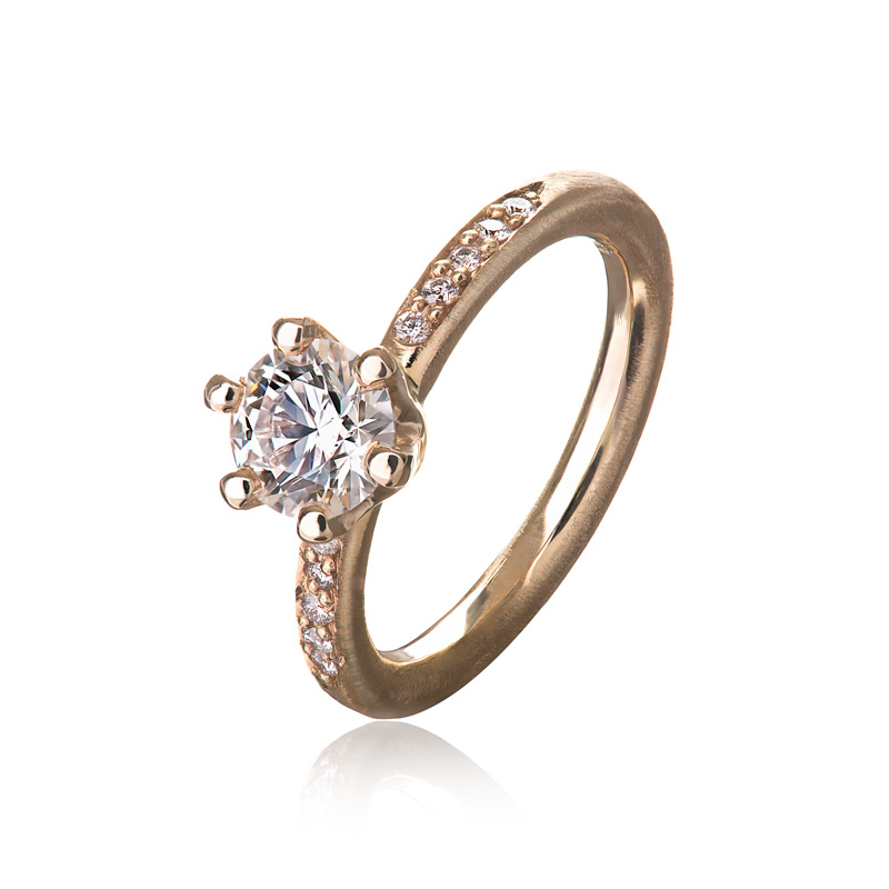 Image of   Solitaire ring i mat 14 kt rødguld med brillanter