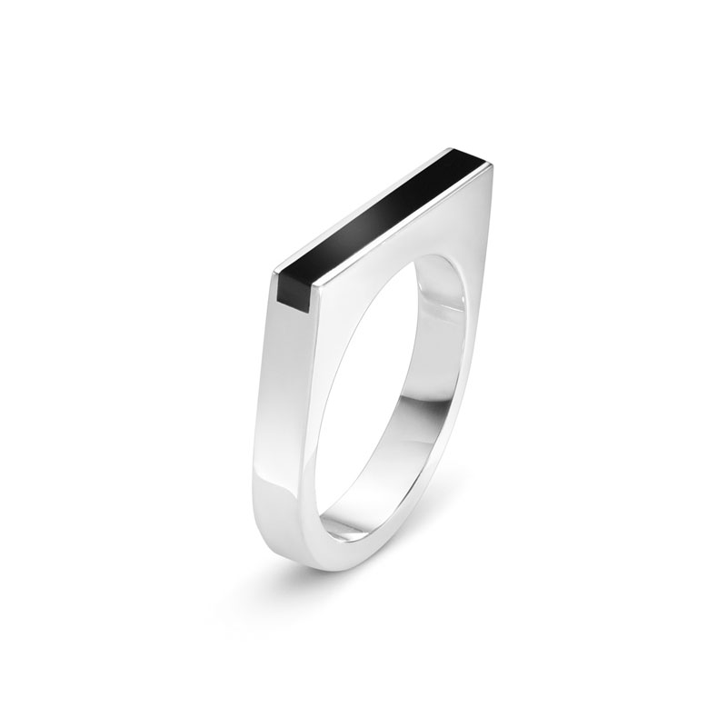 Georg Jensen Aria ring i sølv med sort agat 621B