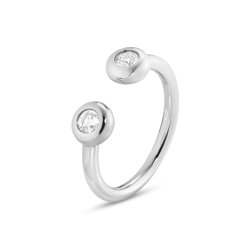 Georg Jensen Aurora ring 1552A, hvidguld med 2 brillanter