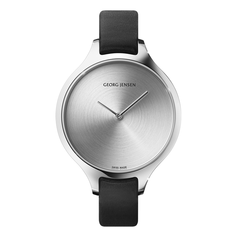 Image of   Georg Jensen Concave dameur med sort rem, 39 mm
