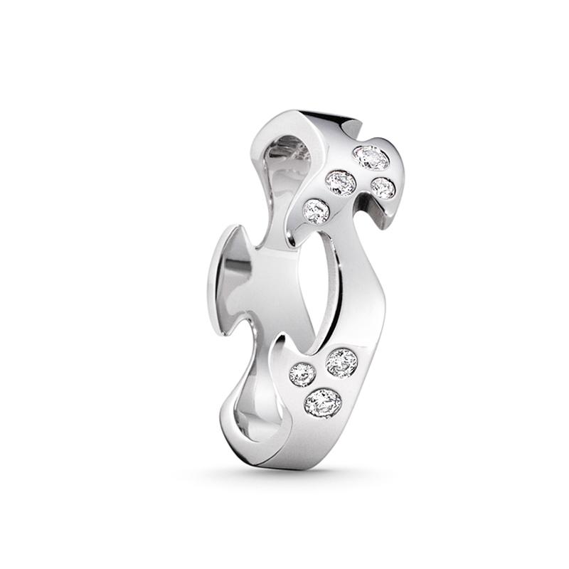 Georg Jensen Fusion centerring 1368A, 18 kt. hvidguld med 8 diamanter