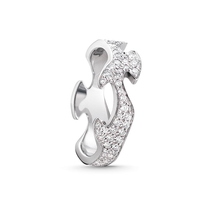 Georg Jensen Fusion centerring 1370, 18 kt. hvidguld med diamant pavé