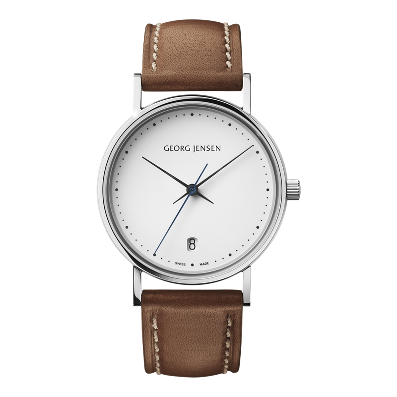 Image of   Georg Jensen Koppel dameur med brun rem, 32 mm