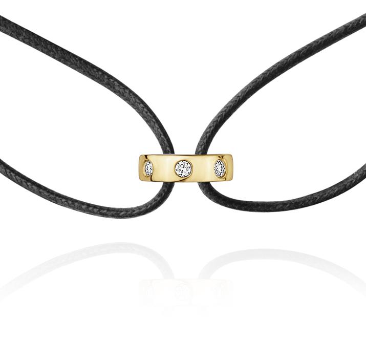 Georg Jensen Magic læder armbånd 1513C, 18 kt. guld vedhæng med 7 diamanter