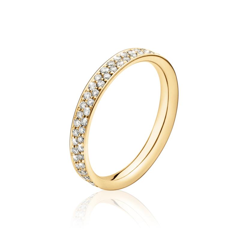 Georg Jensen Magic center ring 1513B, 18 kt. hvidguld med hvid diamant pavé