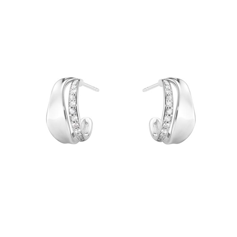 Georg Jensen Marcia øreringe i sølv med diamanter i alt 0,24 ct.