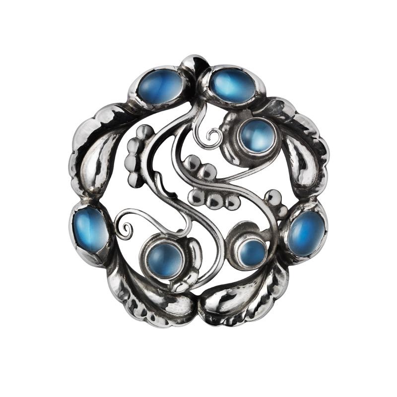 Georg Jensen Moonlight Blossom broche 159, sølv med blå månesten