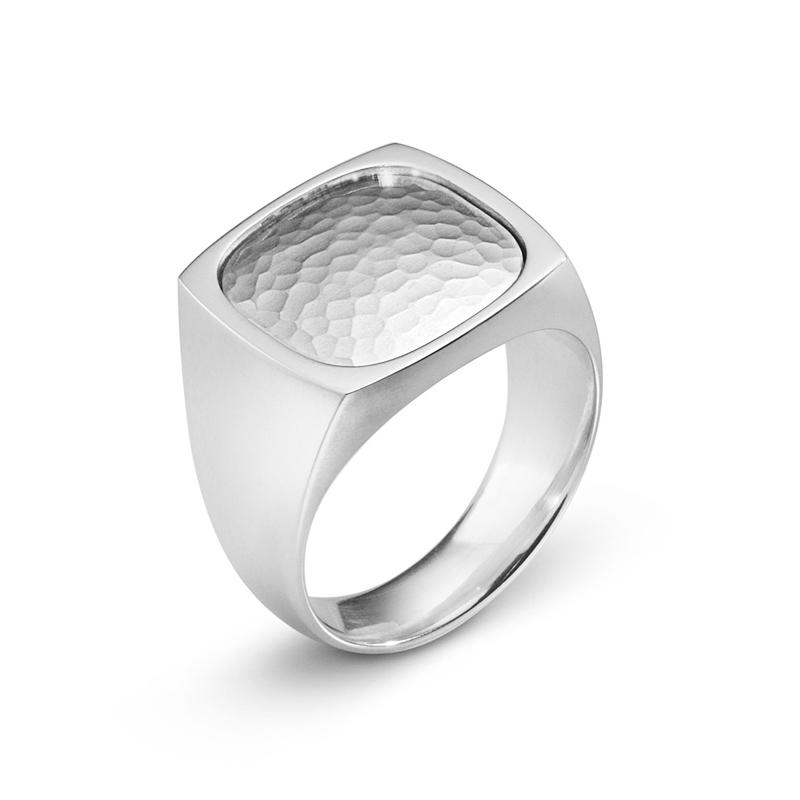 Georg Jensen Smithy ring 590E, sølv hamret