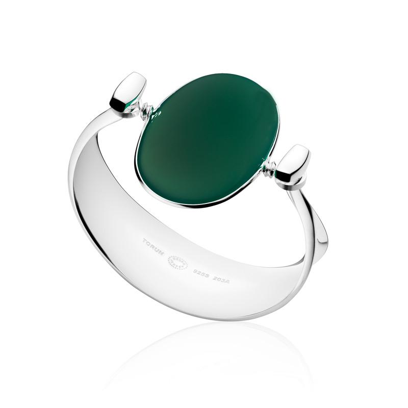 Georg Jensen Vivianna Dew Drop armring 203A, sølv med grøn agat