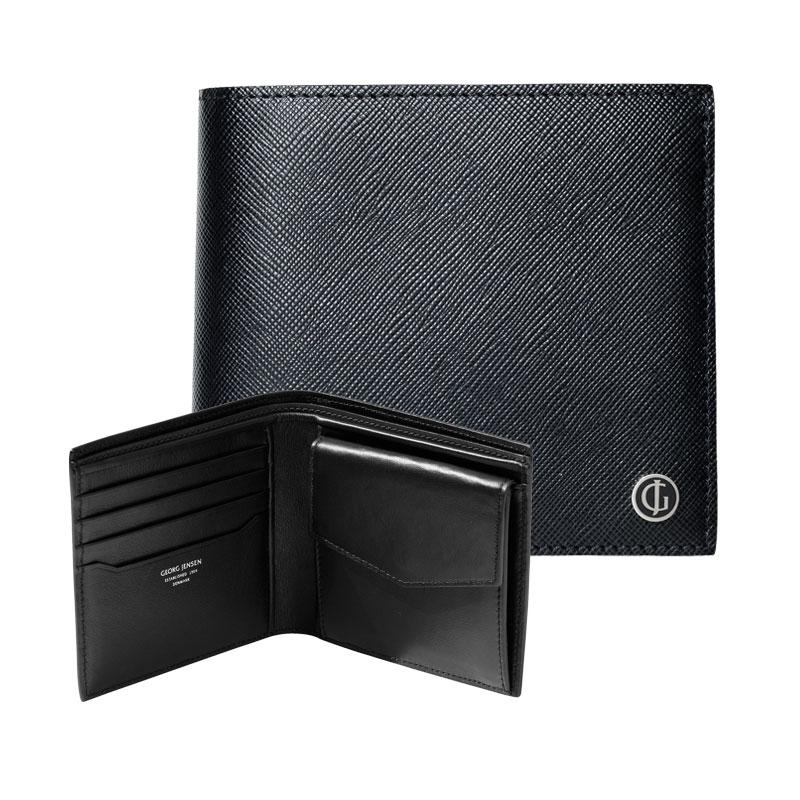 Georg Jensen Business Classic Pung i sort læder til mønter og 4 kort