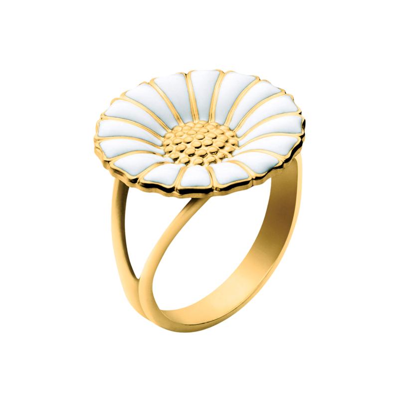 Georg Jensen Daisy Marguerit ring 18 mm, sølv forgyldt med hvid emalje