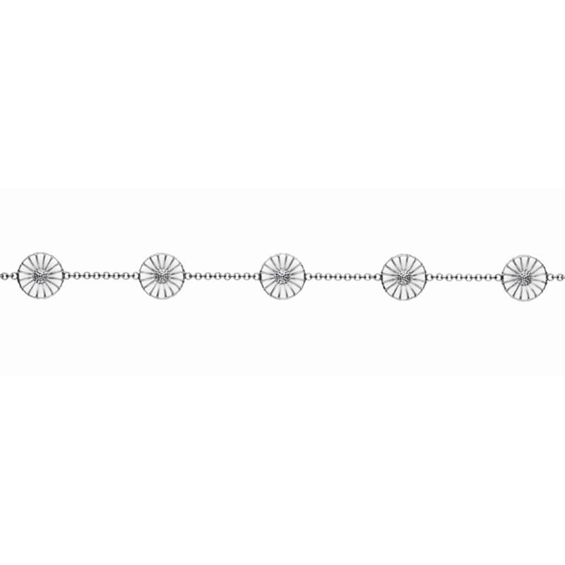 Georg Jensen Daisy Marguerit armbånd i sølv med hvid emalje