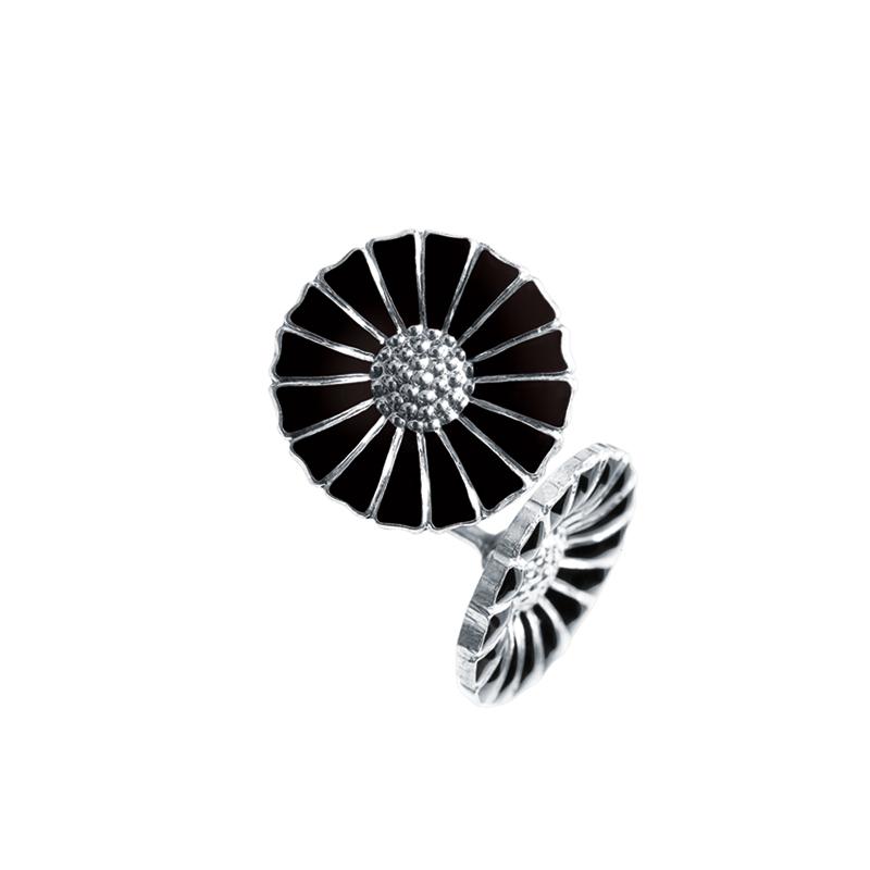 Georg Jensen Daisy Marguerit ørestikker 11 mm, sølv med sort emalje