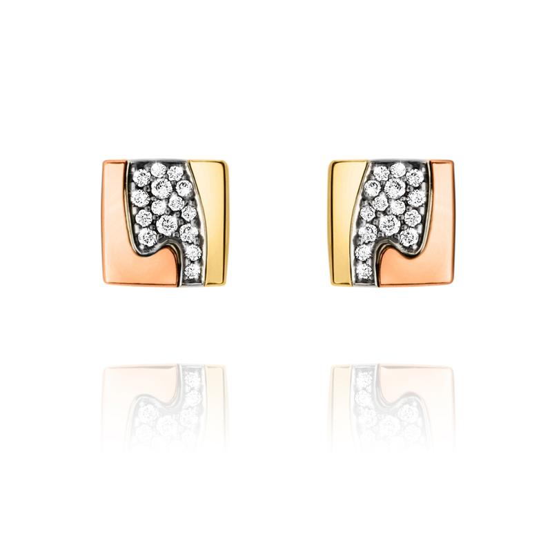 Georg Jensen Fusion ørestikker 1511A, 18 kt. rosaguld, hvidguld og rødguld med diamant pavé