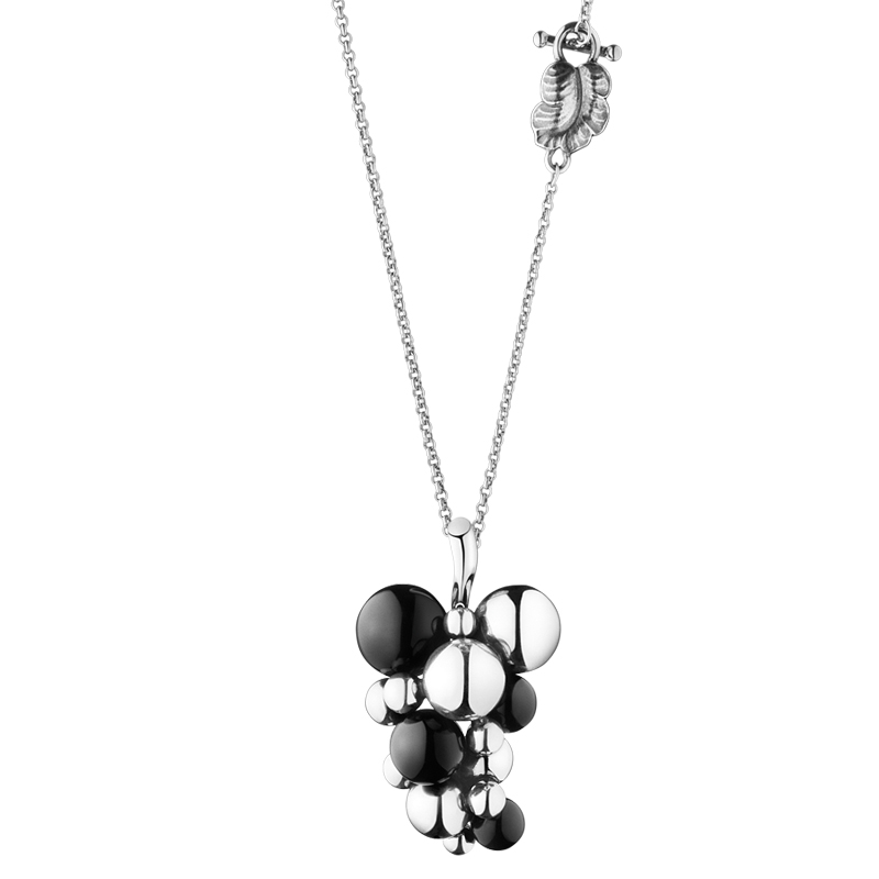 Image of   Georg Jensen Moonlight Grapes vedhæng 257A, sølv med sort agat - stor model