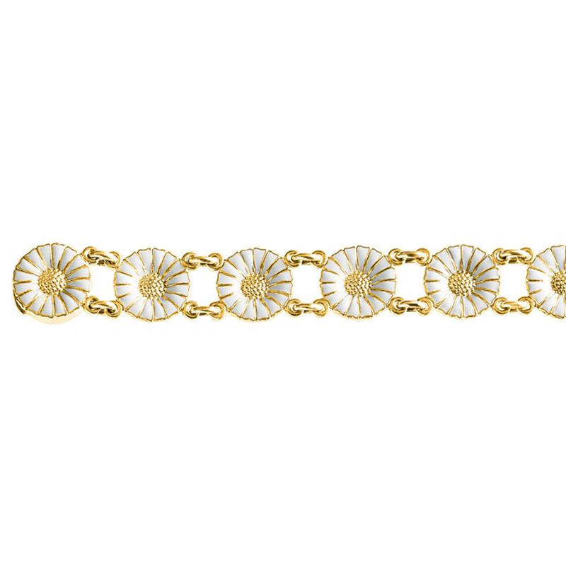 Georg Jensen Daisy Marguerit armbånd, forgyldt med hvid emalje
