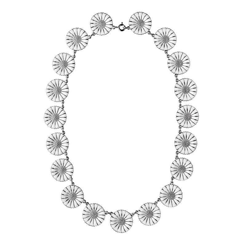 Georg Jensen Daisy Marguerit collier, 11 mm rhodineret sølv med hvid emalje