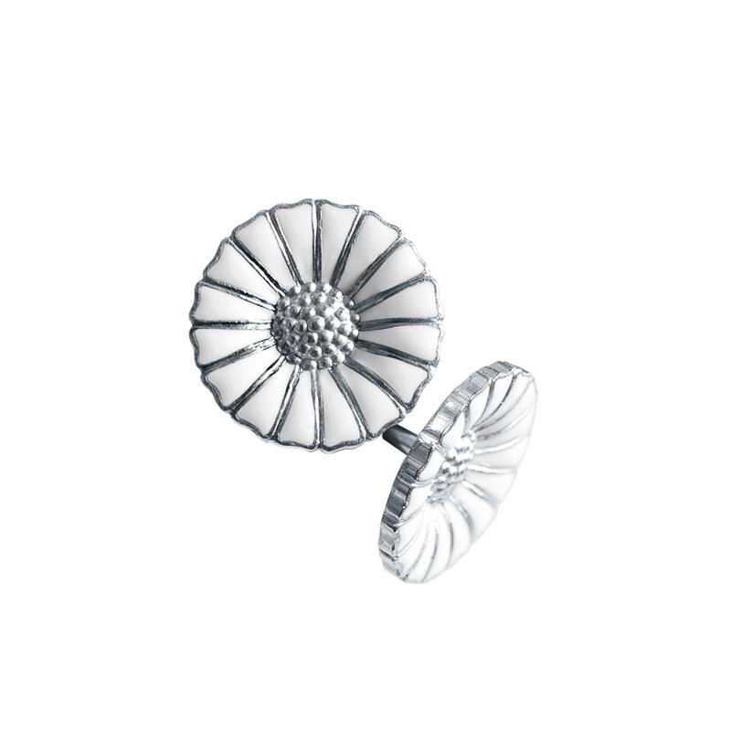 Georg Jensen Daisy Marguerit ørestikker 11 mm, sølv rhodineret med hvid emalje