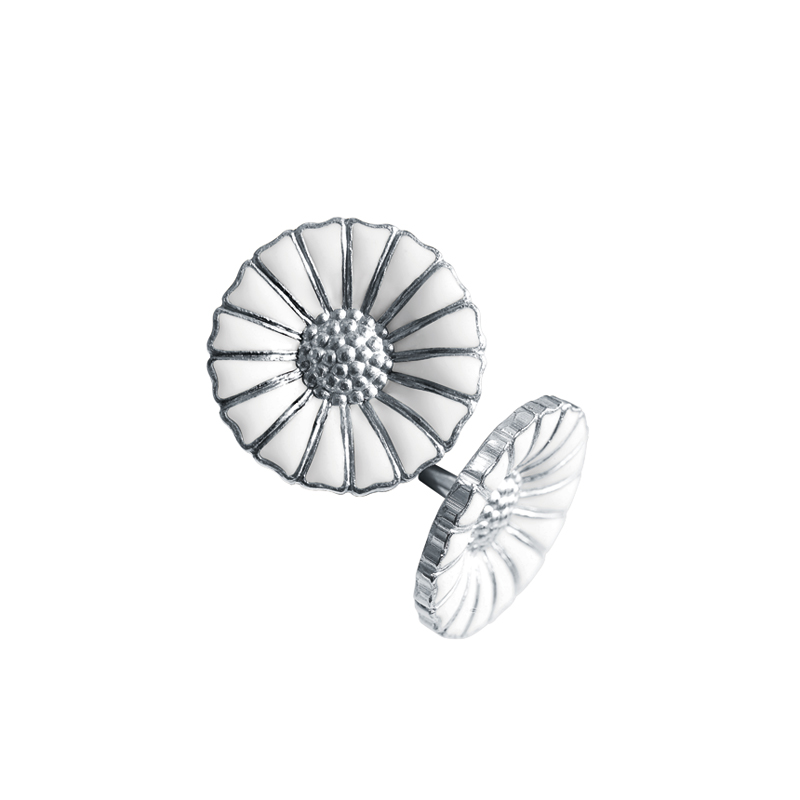 Image of   Georg Jensen Daisy Marguerit ørestikker 11 mm, sølv rhodineret med hvid emalje