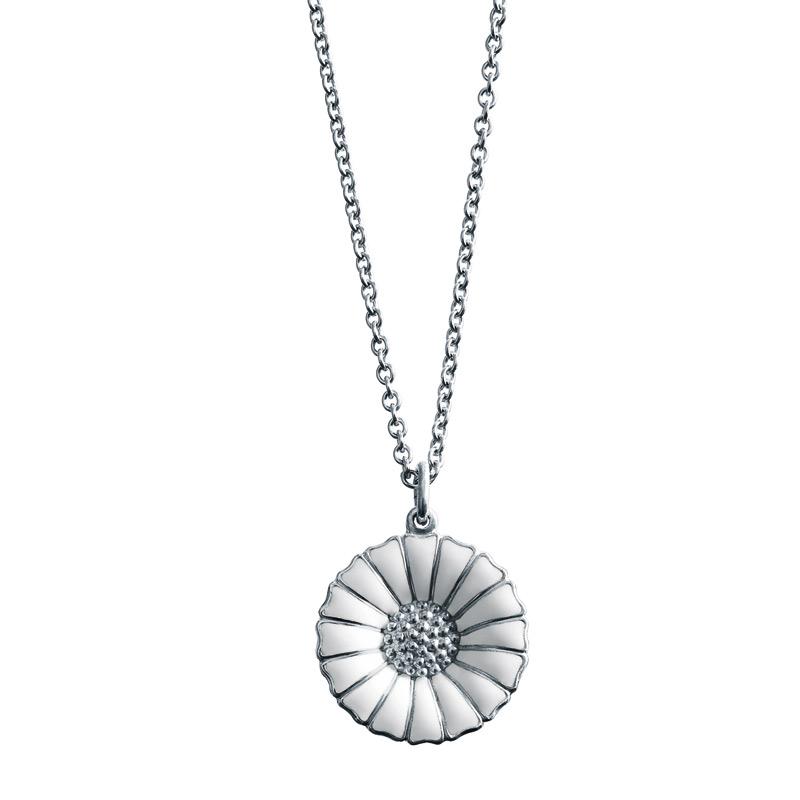 Image of   Georg Jensen Daisy Marguerit halskæde 18 mm, sølv rhodineret med hvid emalje