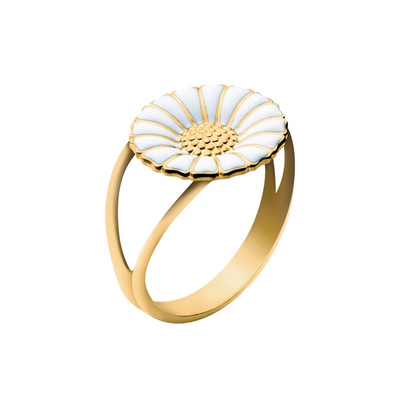 Georg Jensen Daisy Marguerit ring 11 mm, forgyldt med hvid emalje