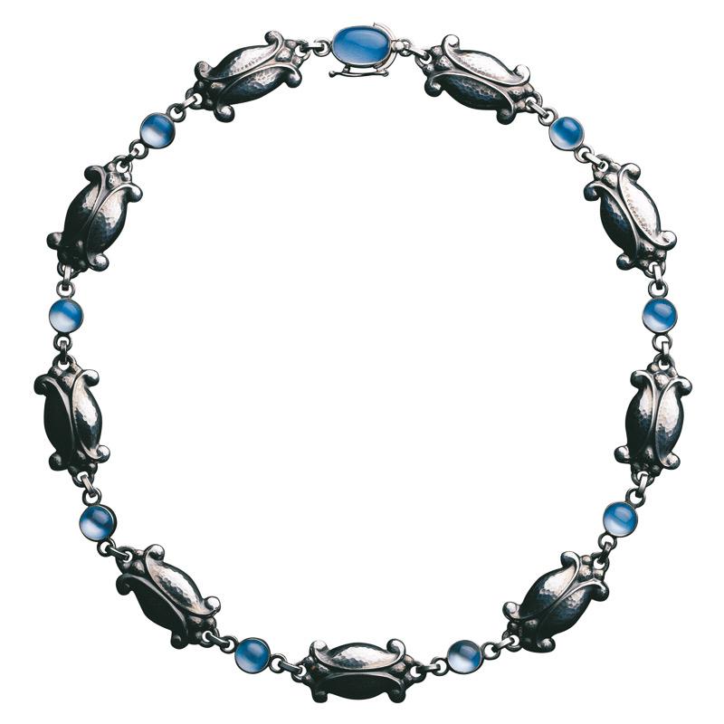 Georg Jensen Moonlight Blossom collier 15, sølv med blå månesten