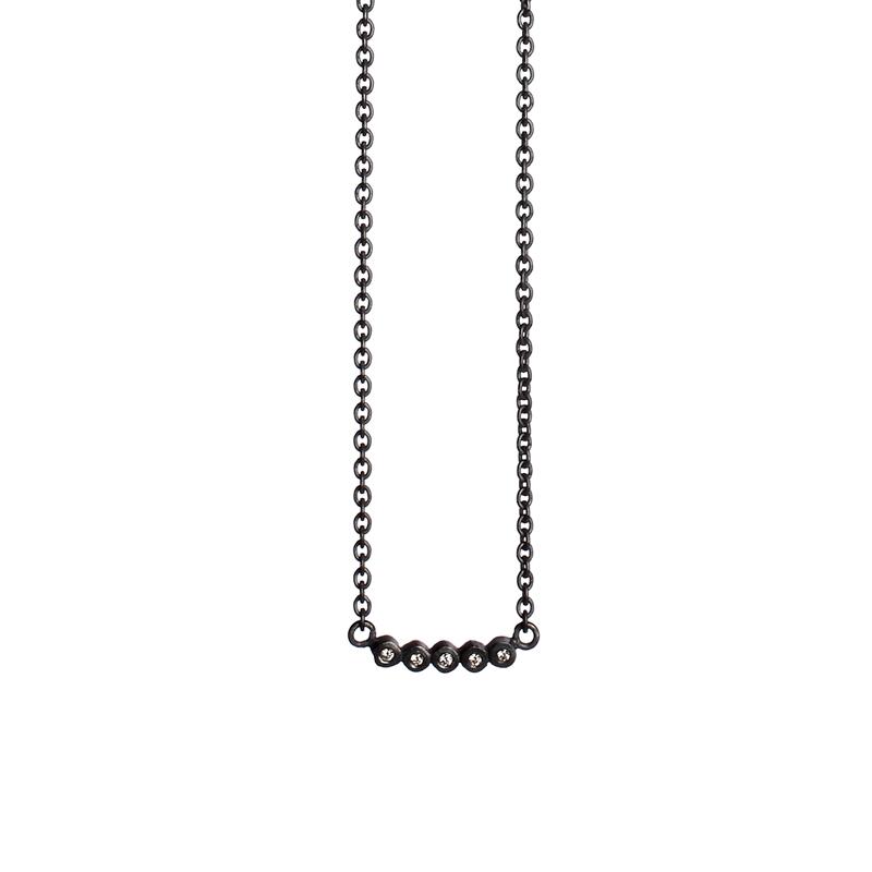 Image of   Guldsmed ø 2014 halskæde i oxyderet med diamanter