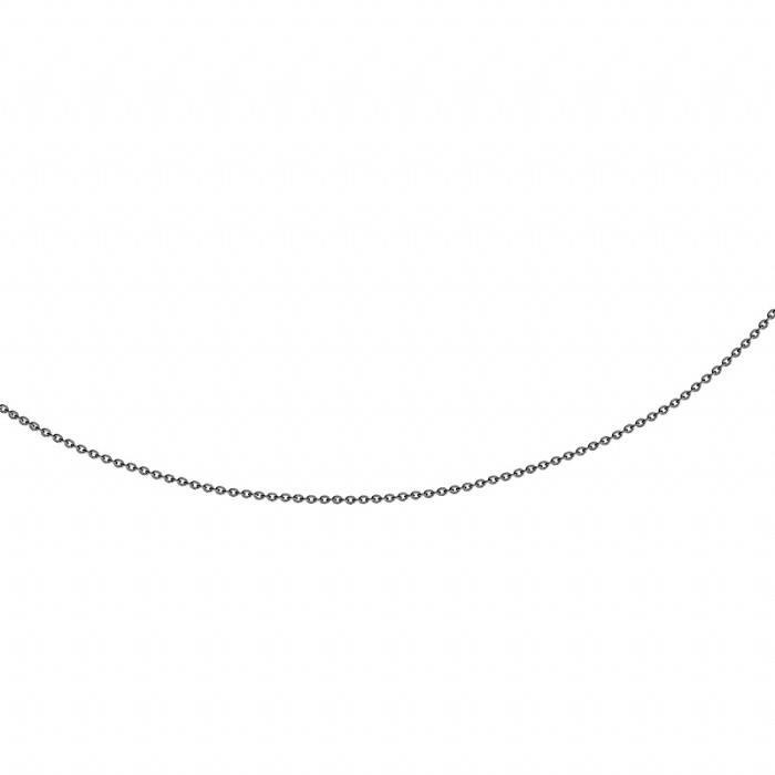 Image of   Halskæde Anker rund 0,4 mm, sort rhodineret sølv fra 42 cm - 90 cm