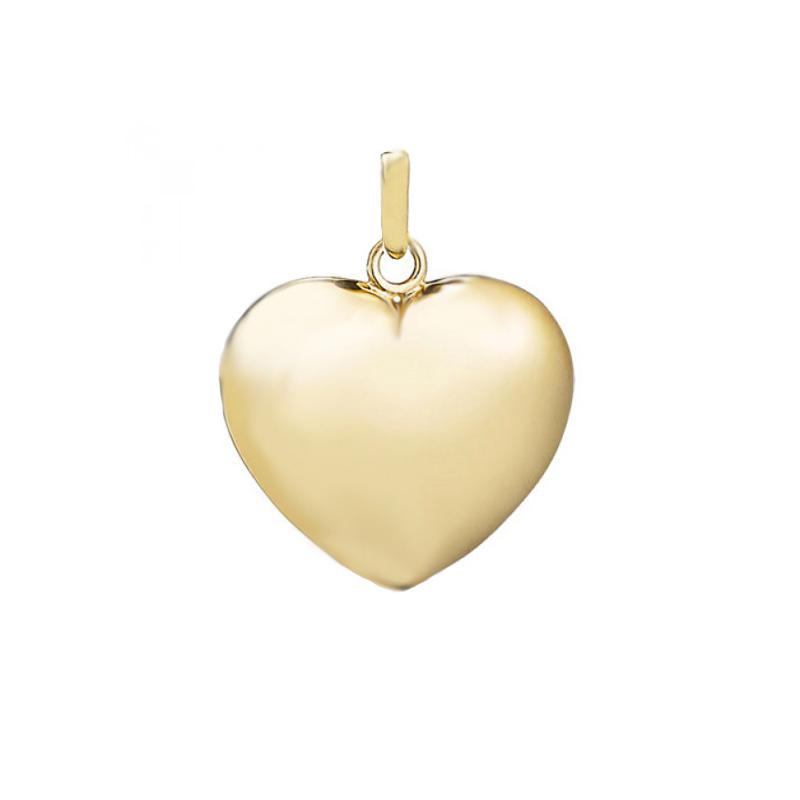 Hjerte massivt vedhæng, 14 kt. guld 13x13 mm