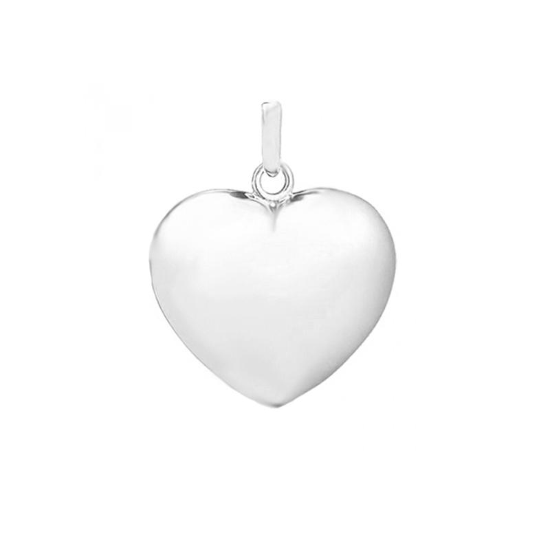 Image of   Hjerte massivt vedhæng, 14 kt. hvidguld 13x13 mm