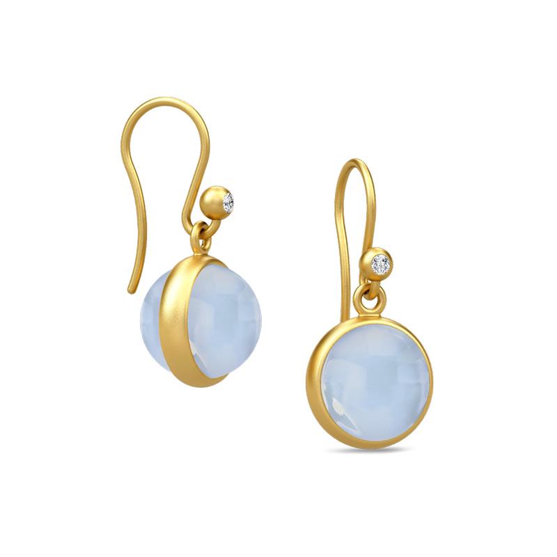 Julie Sandlau Prime ørehænger forgyldt med lys blå krystal og cubic zirkonia thumbnail