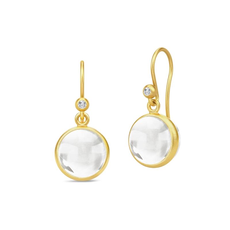 Julie Sandlau Prime ørehænger forgyldt med klar krystal og cubic zirkonia